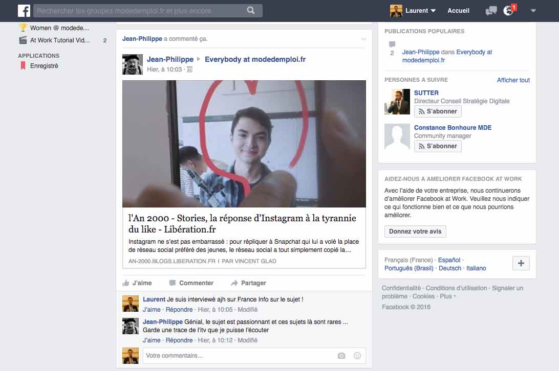 L'interface de Facebook at Work